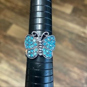 3/25: 10.5 Butterfly Statement Ring Bling Blue